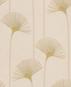 Delta (110086) - Harlequin Wallpapers - A stylized dandelion clock in shimmering pearl and green with metallic gold highlights, other colour ways available. Please request a sample for true colour match. Paste-the-wall product.