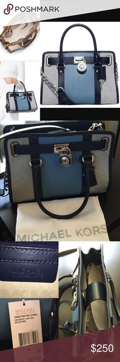 """Michael Kors Hamilton East/West Satchel NWT Navy/Sky Two tone center stripe cotton/polyester canvas w signature lock & key, bridge closure with double handles 4' drop, silver hardware, 1 zip pocket, 2 open pockets, one cell pocket and key fob. Approx 12 3/4"""" W x 9"""" H x 5"""" D. Comes with dust bag Michael Kors Bags Satchels"""