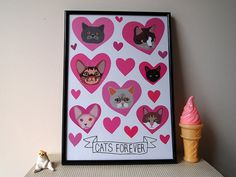 Cats Forever A4 Print  Cat print  Cats  I like by ilikeCATSshop