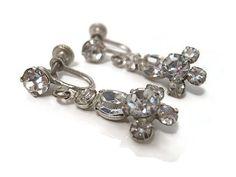 Vintage Rhinestone Earrings Silver Tone Screw by SharkysWaters