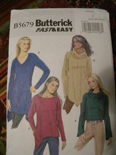 Butterick Pattern B5679 Ladies pullover tops 4 styles sizes 4-14