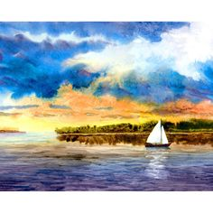 Sailboat painting watercolor PRINT seascape at Sunset Clouds landscape Nautical art ___________________________________________________________ Sailing at Sunset IMAGE SIZE: You will have to select the size that you want. Its a sign and numbered archival Giclee print, printed with 200 year inks on watercolor paper. Available in: 5x7 $24 7x10 $30 8x10 $30 10x14 $45 11x14 $45 13x18 $75 Please dont hesitate to ask if you have any questions, there are no dumb questions. ____________________...