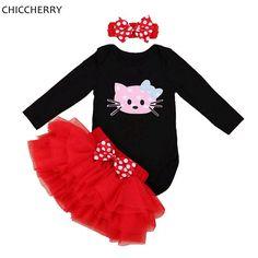 >> Click to Buy << Hello Kitty Baby Girl 1st Birthday Dress Infant Bodysuit Tutu Set Headband Lace Skirt Valentines Dress Ropa De Bebe Kids Outfits #Affiliate