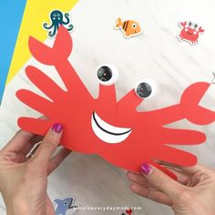 easy and fun crab craft is a great craft for preschool, toddler, and kindergarten children. It works for ocean, beach, under the sea themes or when learning about the letter c. It's an easy and fun activity for kids! This easy and fun crab craft is a g. Daycare Crafts, Preschool Crafts, Fun Crafts, Arts And Crafts, Creative Crafts, Letter C Preschool, Crafts For Preschoolers, Easy Kids Crafts, Crafts For Toddlers
