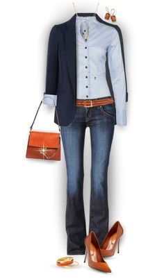 Preppy casual outfit, fashion mine casual fall winter, navy blazer button down j – Winter Mode Casual Work Outfits, Mode Outfits, Work Casual, Jean Outfits, Casual Chic, Fall Outfits, Casual Blazer, Casual Tops, Casual Fridays