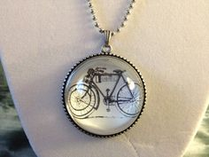 Vintage Retro Bicycle Bauble Pendant on Beaded Chain Necklace