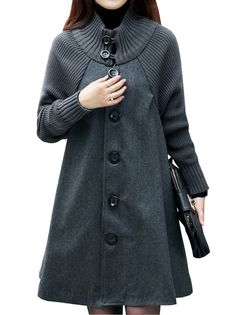 Fashion Cloak Long Sleeve Single Breasted Pure Color Women's Coat on buytrends.com