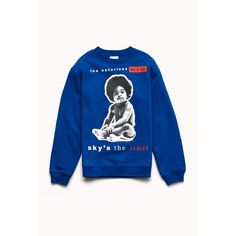 FOREVER 21 Notorious B.I.G Fleece Sweatshirt ($23) ❤ liked on Polyvore featuring tops, hoodies, sweatshirts, sweaters, blue top, graphic sweatshirts, forever 21 sweatshirt, long sleeve sweatshirt and blue long sleeve top