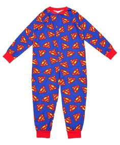 Boys Lightweight Blue Cotton Character Onesie Pyjama All in One Superman