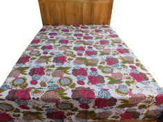 Bedspread bedsheet bedcover throw Indian antique handmade peacock elephant embroider home decor 93