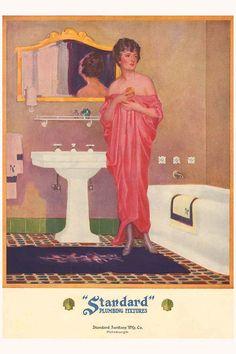 "livingnowisliving: ""Linda Belmonte Wallace saved to Vintage Ads & Catalogs Image detail for -Vintage DECO Pink Dress Flapper Girl BATHROOM Bath Decorating … "" Vintage Ads, Vintage Decor, Vintage Posters, Vintage Houses, Vintage Advertisements, Vintage Pink, Art Deco Bathroom, 1920s Bathroom, Bathroom Ideas"