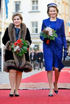 Queen Mathilde of Belgium (R) and Grand Duchess Maria Teresa of Luxembourg at the Grand Ducal Palace in Luxembourg, 02.12.13.