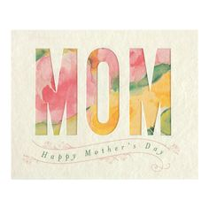 """Made from recycled paper, this beautiful mother's day card features the word """"Mom"""" in a pastel floral watercolor. Size: IN x IN Learn more about Good Paper Cards and the artisans who make them. Mothers Day Ecards, Mothers Day Text, Unique Mothers Day Gifts, Mothers Day Crafts, Mother's Day Greeting Cards, Greeting Cards Handmade, Watercolor Cards, Floral Watercolor, Handmade Birthday Cards"""