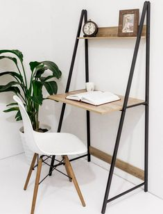 C-Hopetree Ladder Desk with Shelf - Student Home Office Computer Table - Metal Frame Desks For Small Spaces, Furniture For Small Spaces, Decorating Small Spaces, Computer Desk Small Space, Desk In Living Room, Bedroom Desk, Wall Desk, Desk Shelves, Small Space Bedroom