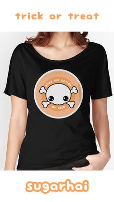 Super cute trick or treat t-shirts with skull and crossbones. Give me Candy or Else.