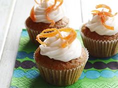 Mini Carrot Cupcakes Recipe : Food Network Kitchens : Food Network - FoodNetwork.com Healthy and from scratch