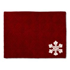 """Red Textured Snowflake Placemat (14""""X19"""") - Threshold™ : Target"""