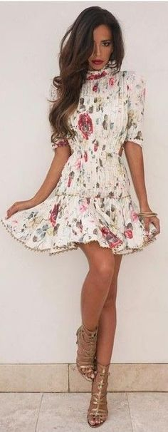 White Floral Little Dress