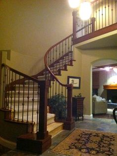 Curved, Asian inspired design, knuckle wrought iron, Aliso Viejo staircase