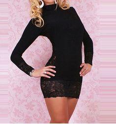 Hollow Lace Splicing Silk Black Mini Dress