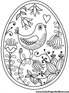 Bird Coloring Page 18 Make your world more colorful with free printable coloring pages from italks. Our free coloring pages for adults and kids. Easter Egg Coloring Pages, Bird Coloring Pages, Adult Coloring Pages, Coloring Books, Coloring Sheets, Easter Coloring Pages Printable, Mandala Coloring, Paper Embroidery, Hand Embroidery Patterns