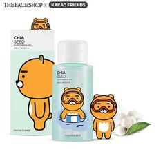 THE FACE SHOP Chia Seed No Shine Hydrating Water (Kakao Friends) 300ml    A pore cleansing toner that replenishes skin with moisturizingChia Seed Extract while removing excess oil with Cotton Seed Extract.A daily pore reducing toner that removes unwanted