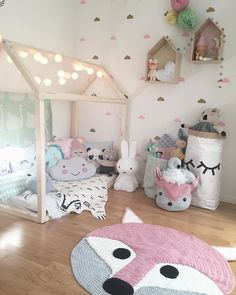 Super cute little girls room. Love all the animal accents of this room! Giving it a woodland theme but in a mild, girly way. Perfect for the animal lover!