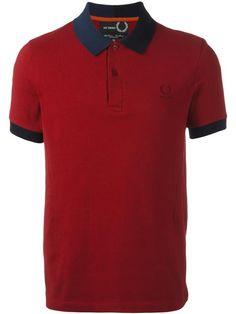 Raf Simons X Fred Perry Camisa polo com contraste Red Polo Shirt Mens, Red Shirt, Tartan Men, Fred Perry Polo Shirts, Men's Fashion, Fasion, Polo Shirt Design, Boys Designer Clothes, Lacoste