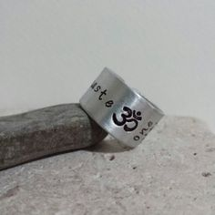 Namaste Ohm Ring  Om Ring  men's adjustable by DenisesCraftRoom, $15.50