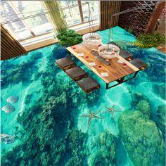 beibehang Custom Nonwovens Floor Gorgeous Underwater World Shells Toilet Bathroom Bedroom 3D Floor