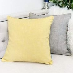 Home Accent Pillows Textured Linen Throw Pillow Color: Yellow Yellow Throw Pillows, Couch Pillows, Throw Pillow Sets, Accent Pillows, Sofa Throw, Pillow Texture, Yellow Accents, Pillow Room, Home Accents