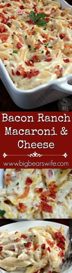 A side dish with a bacon ranch kick! Make this Bacon Ranch Macaroni and Cheese tonight with dinner or add in some rotisserie chicken to make it a full meal! Bacon Ranch Macaroni and Cheese (Rotisserie Chicken Casserole) Bacon Recipes, Casserole Recipes, Pasta Recipes, Dinner Recipes, Cooking Recipes, Chicken Recipes, Chicken Casserole, Cheese Recipes, Recipes With Macaroni Noodles