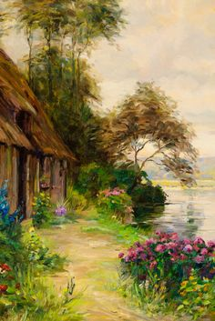 A Cottage by a River by Louis Aston Knight ~ The lush and serene French riverscape is the subject of this work by Louis Aston Knight. Renowned for his landscapes, Aston Knight's oil on canvases capture the splendors of the natural world. His vibrant oeuvre was tremendously influenced by his father, the legendary Daniel Ridgway Knight ~ M.S. Rau Antiques