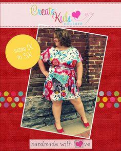 Create Kids Couture - Danika�s Women's Plus One-Piece Top and Dress PDF Pattern, $5.60 (http://createkidscouture.com/danikas_womensplus.html/)