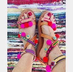 So boho and funky! Women Leather Sandals, Boho Sandals, Greek Leather Sandals, Pom Pom Sandals, Gladiator Sandals, Boho Flats, Handmade Leather Sandals #etsy #shoes #women #bohosandals #leathersandals #pompomsandals #gladiatorsandals #greeksandals #friendshipsandals