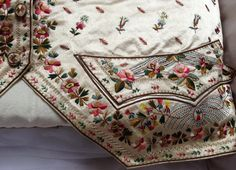 Pocket detail, Silk and embroidery background,1780-90 waistcoat