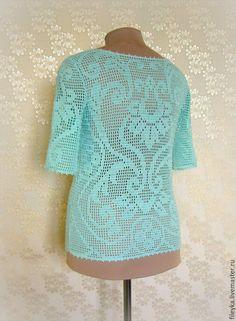 Купить Мятный ажур - мятный, рисунок, блузка женская, блузка нарядная, блузка летняя