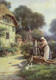 """Drawing water by a cottage"", by 1917 by William Kay Blacklock"