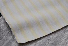 Wide Stripe Ticking in Lemon and Ecru