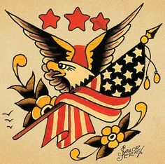Rockabilly Tattoo for Men - Sailor Jerry Tattoo Style - Tattoo Ideas Art Sailor Jerry Flash, Traditional Eagle Tattoo, Traditional Tattoo Design, Traditional Tattoo Flash, Traditional Sailor Tattoos, Patriotische Tattoos, Tatuajes Tattoos, Bodysuit Tattoos, Arabic Tattoos