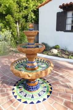 Ole Hanson historic home, Fountain design using using Mexican tiles by kristiblackdesigns.com