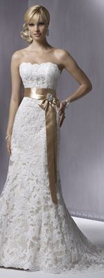 Maggie Sottero Spring 2012 - Ivory Lace over Light Gold Strapless Sequin Embellished Karena Royale Wedding Gown - 0 - 28