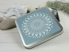 Blue mandala aluminium box as a wedding favor completes the inspiring atmosphere!  Blue Mandala Aluminum Box perfect for storage collectible small items, yoga gift, decorate your home and to use as storage at your office. This cute and small box will help you organize your office desk or small items in the bathroom area. It suits also as a women gift box, jewelry packing and perfect for a wedding giveaway.  #mandala #sacredgeometry #christmasgift