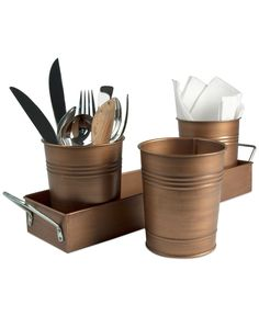 Enhance your table setting with this beautifully decorated and elegant Flatware Caddy with Antique Copper Finish from Oasis. Cutlery Holder, Cutlery Storage, Storage Containers, Food Storage, Silverware Caddy, Oasis, Graduation Party Decor, Rustic Charm, Serveware