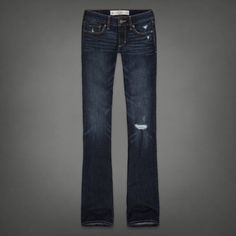 Here are a pair of bootcut destroyed dark wash jeans.