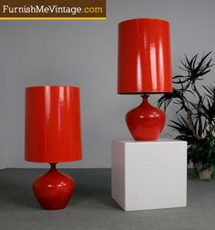 2 Matching Mid Century Modern Red Lamps