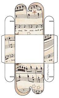 A lot of flavor box model - Vintage Sheet Music: Set 003 - Vintage Sheet Music Free Clipart Biege Tan - Printable Gift Boxes