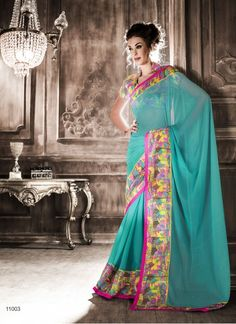 Kreckon Cyan Blue Printed Georgette With Lace Saree