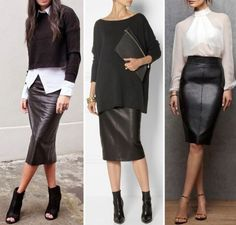 Nadire Atas on Leather Skirts - Mode - Best Combin Mode Outfits, Office Outfits, Chic Outfits, Fall Outfits, Fashion Outfits, Womens Fashion, Petite Fashion, Mode Chic, Mode Style
