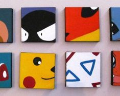 Closeup Pokemon Paintings (8in x8in each) | those are super cute to hang on your wall | pikachu, togapi, charmander, bulbasaur, squirtle | small tiny wall decoration hanging | pokemon, geek home decor